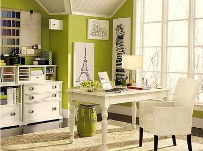 Another Lime Green And White Office With Black Artwork