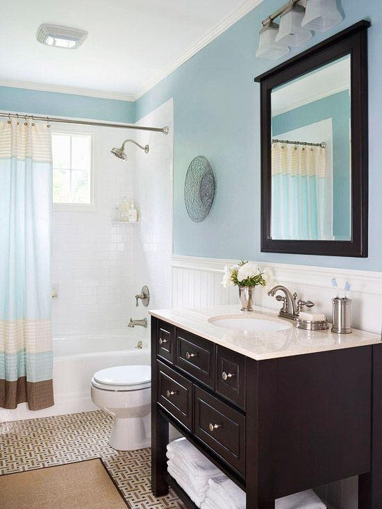 Aptly named Bathe Blue by Sherwin Williams is the perfect bathroom color. 12 of the Best Bathroom Paint Colors