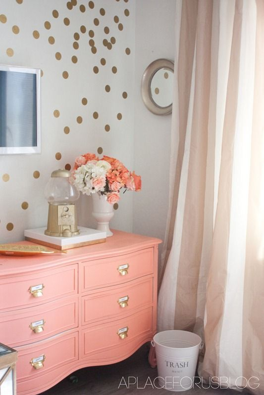Coral, Gold And White Bedroom Color Ideas
