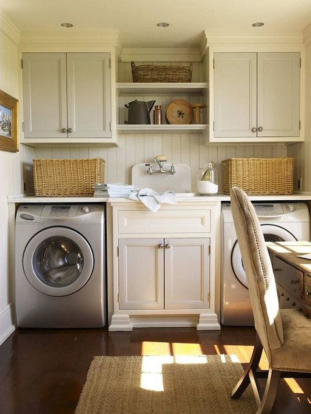 Cream And Warm Gray Laundry Room