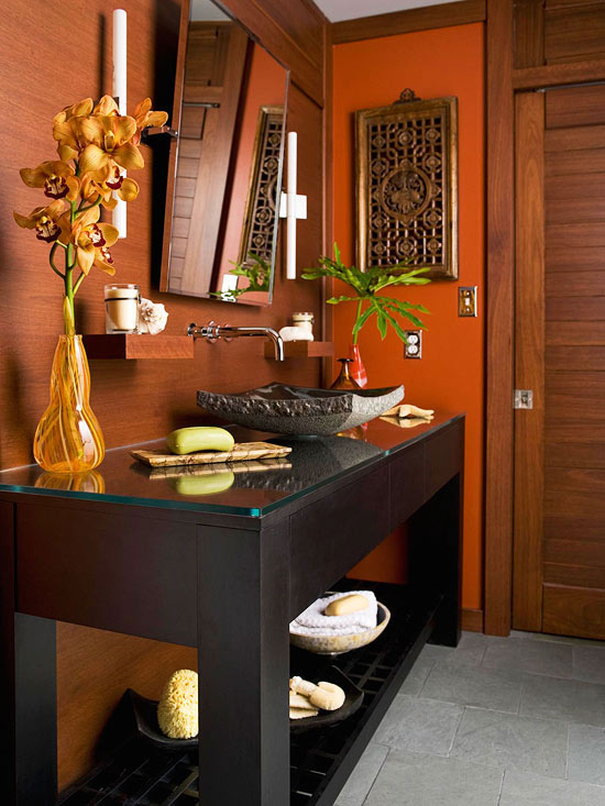 brown bathroom color ideas. Daredevil Orange accents 12 of the Best Bathroom Paint Colors