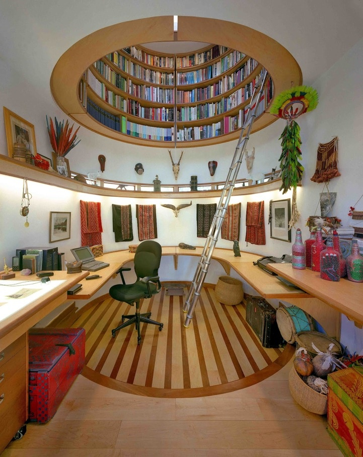 Dream Home Office With A 360 2nd Level Library And Tribal Accents