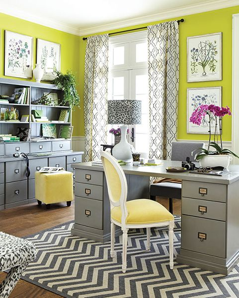 Gray And Yellow Kitchen Walls: 30 Gorgeous Home Office Designs