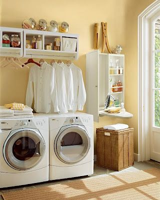 Friendly Yellow Laundry Room With White Accents