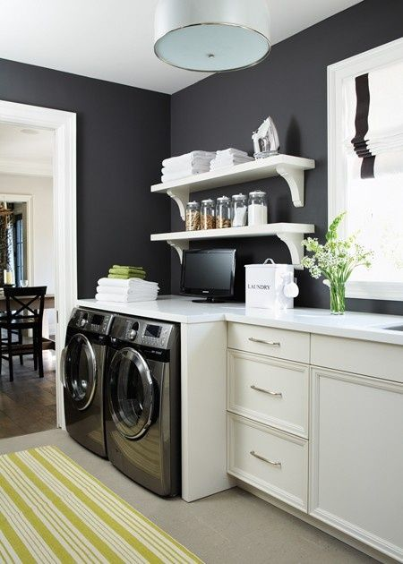 Gale Force Black And White Laundry Room Paint Color