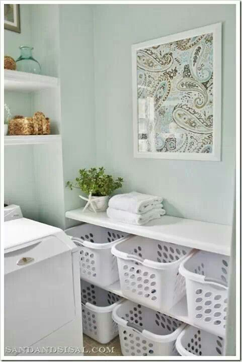 Glimmer pale green laundry room paint color