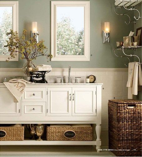 Gratifying Green By Sherwin Williams Light Sage Bathroom Color With White And Wicker Accents