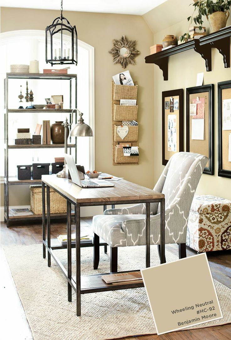 grey home office. Grey And Beige Home Office With Black Accents Wheeling Neutral Paint By Benjamin Moore E