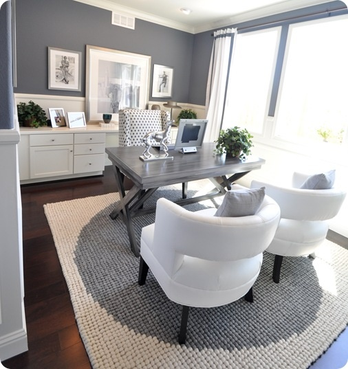 Grey Monochromatic Home Office With Metallic Accents And Polka Dots