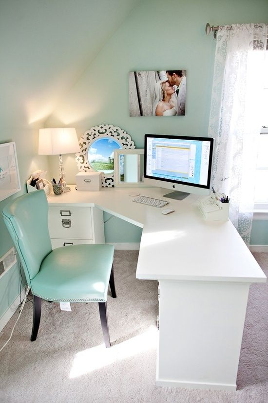 Light Turquoise Office With White Accents And Lace Curtains