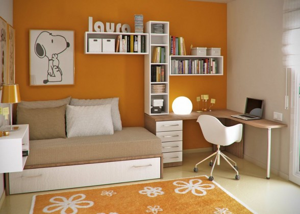 Orange And White Chic Home Office With Small Daybed Under Bed Storage