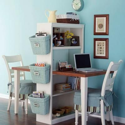 Blue White Office Space Workspace Small Space Home Office With Dual Desks Blue Walls And White Accents Painter1 30 Gorgeous Home Office Designs