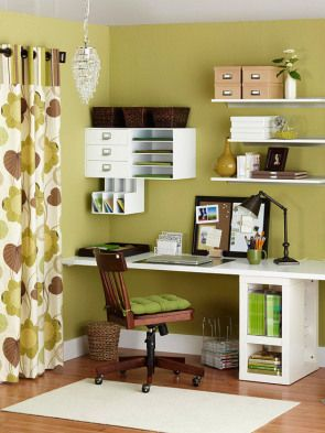 green home office. small space office with lime green, brown and white green home m