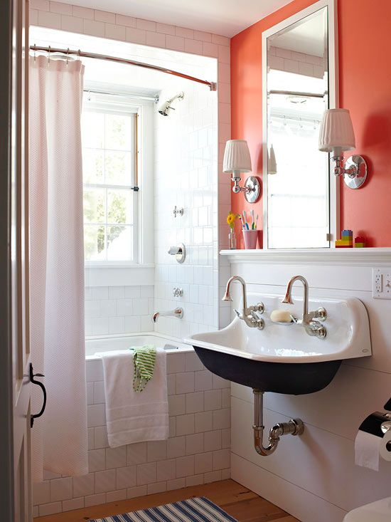 White Bathroom With Gladiola By Sherwin Williams Deep Orange Coral Accent Wall
