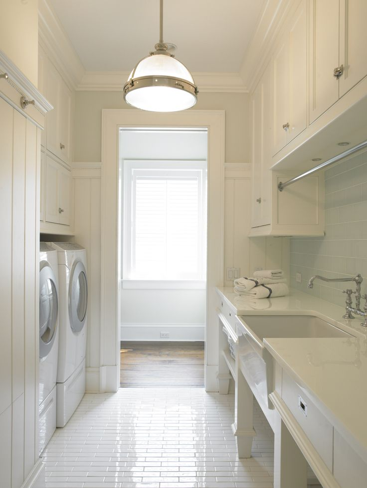 White Flour Laundry Room With Subway Tile