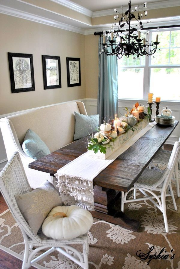 Elegant Rustic Dining Room With Table Runner And Turquoise Accents