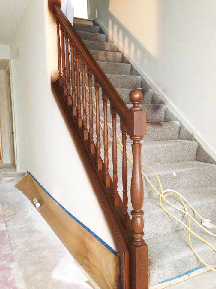 Banister Stain before image 1